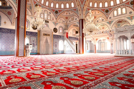 mat: The interior of the majestic Kulliye mosque at Manavgat in Turkey. Editorial
