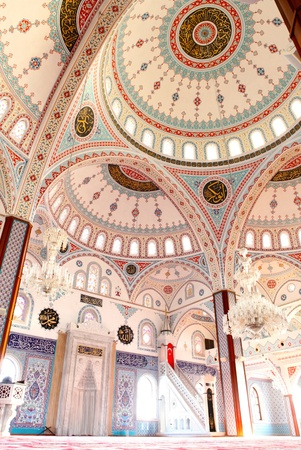 The interior of the majestic Kulliye mosque at Manavgat in Turkey.