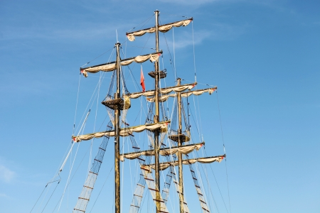 Pirate ship sailing at sea in Manavgat photo