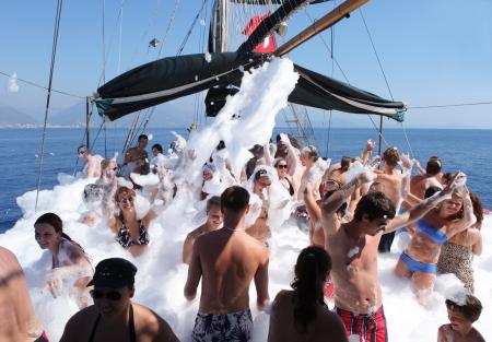 boat party: ALANYA - September 26  Foam Boat Party at sea  Antalya, Turkey Editorial