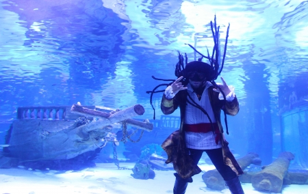 Pirate fun in the aquarium in Antalya, Turkey