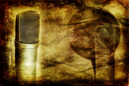 Grunge music background with modern condenser microphone photo