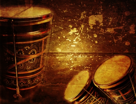 Grunge music background with ornaments turkish bongo photo