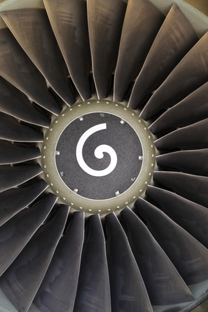 Boeing Aircraft engine motor fan with symbol. photo