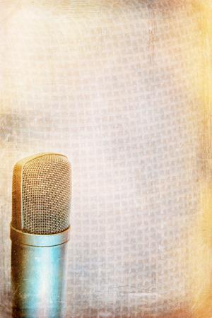 condenser:  Grunge music background with modern condenser microphone Stock Photo