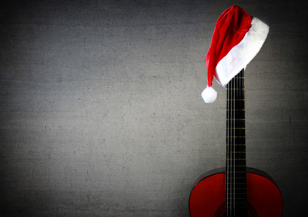 New Year Christmas Guitar with noel cap. photo
