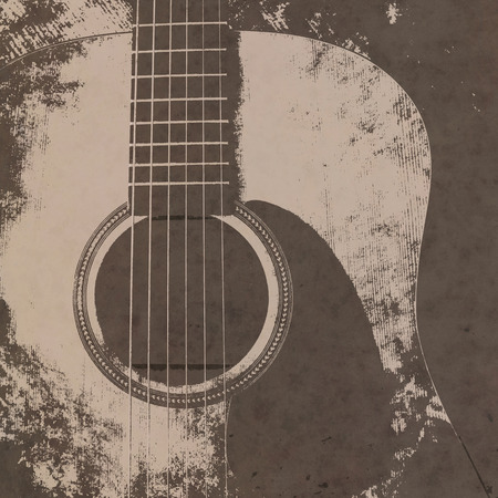 Musical vintage sepia background with acoustic guitar. Imagens