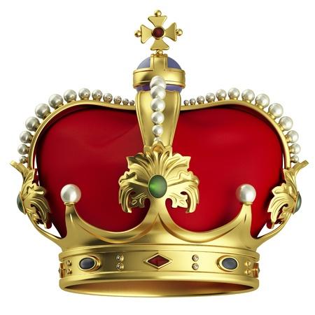 koninklijke kroon: Gouden kroon op wit wordt geïsoleerd Stockfoto