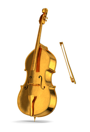 Golden cello isolated on white background witch shadow Фото со стока - 48713867