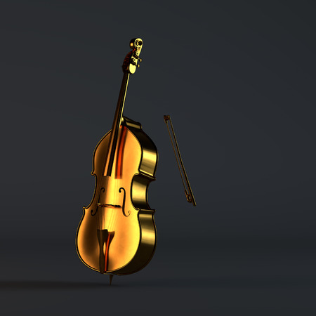 Golden cello standing in a black studio Фото со стока - 48713907