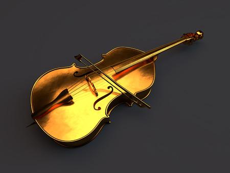 instruments de musique: Or violoncelle debout dans un studio noir Banque d'images