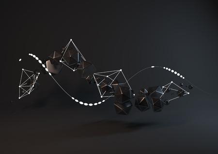 plexus: Abstract black geometrical background with plexus shapes