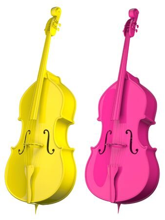 resonator: Two Cello bright colors isolated on white background