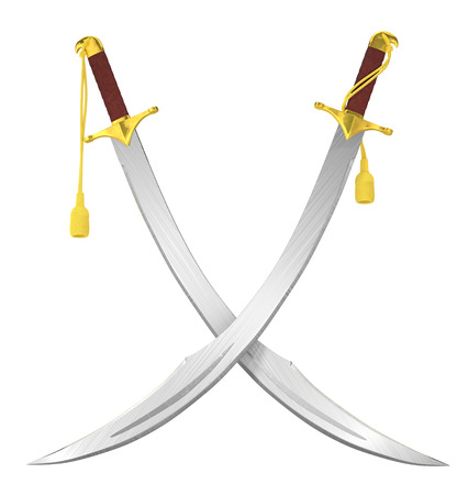 sabre: Crossed arabian scimitar swords isolated on white