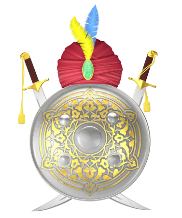 scimitar: Arabian shield and crossed scimitar swords with turban isolated on white Stock Photo