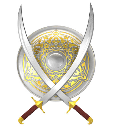 Arabian shield and crossed scimitar swords isolated on white Фото со стока - 50999438