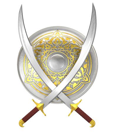 escudo: Escudo árabe y espadas cimitarras cruzados aislados en blanco
