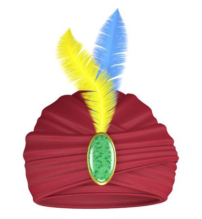 turban: Purple turban with feathers and precious stone Stock Photo