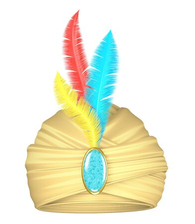 turban: Beige turban with feathers and precious stone