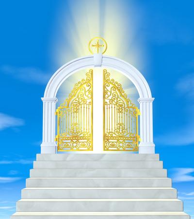 cielo: Las puertas del paraíso en las nubes Foto de archivo