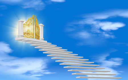 De poorten van het paradijs in de wolken