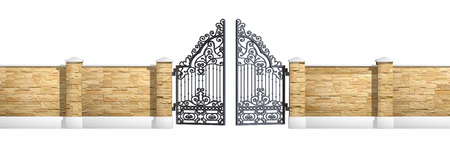 entrance gate: Classical design black iron gate isolated on white