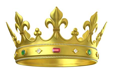 corona de oro con joyas aisladas en blanco Foto de archivo