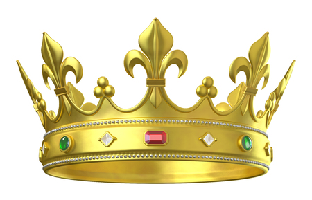Couronne en or avec des bijoux isolé sur blanc Banque d'images