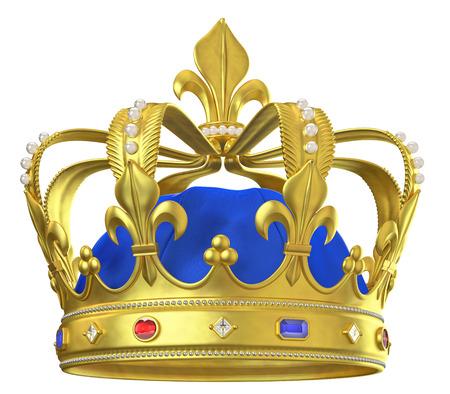 Couronne en or avec des bijoux isolé sur blanc