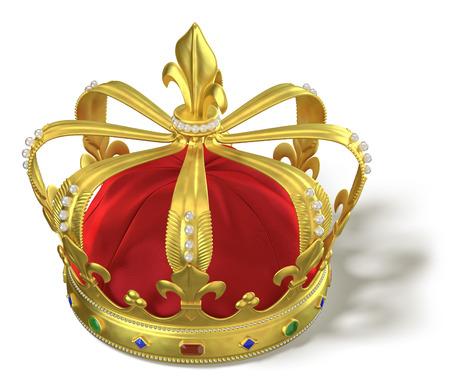 corona de reina: corona de oro con joyas aisladas en blanco