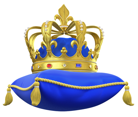 The royal pillow with crown isolated on white 스톡 콘텐츠