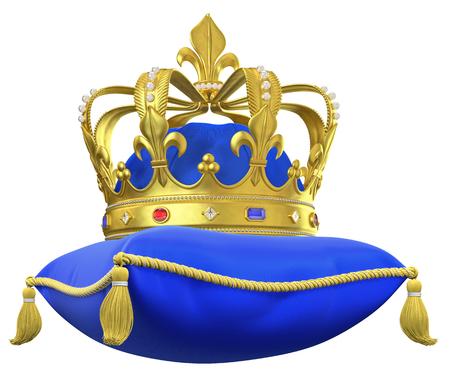 Das königliche Kissen mit Krone auf weißem isoliert