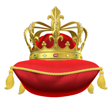 The royal pillow with crown isolated on white Фото со стока