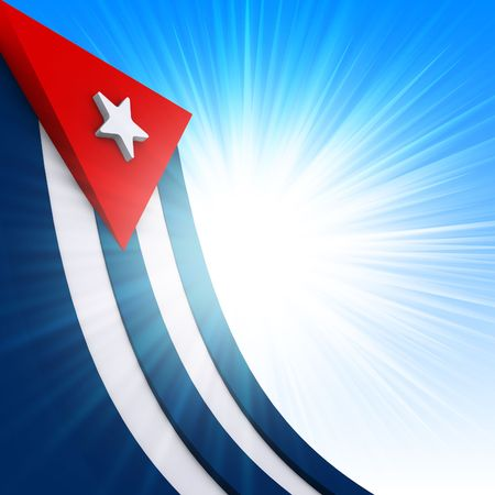 The Cuban flag on abstract glow background photo