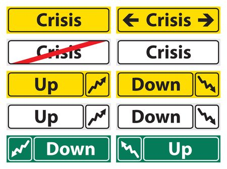 The Crisis direction sign, yellow, wyite and green photo