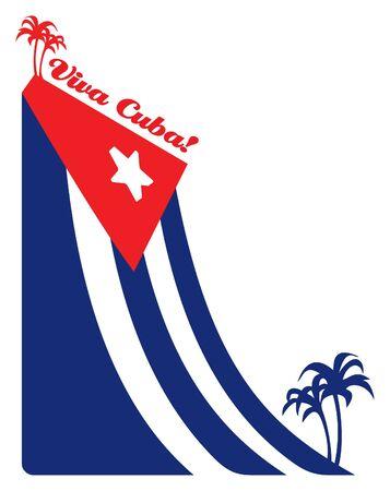 bandera cuba: Cuba ondea la bandera y la palma, la ilustraci�n