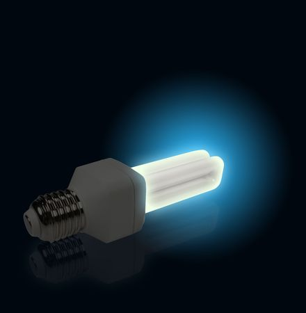 The Blue Light from economical lamp on black Stock Photo - 3948322