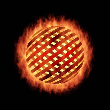 The Fragmentation sphere in fire, on black photo