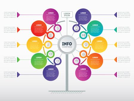 Concepto de presentación empresarial con 10 opciones. Plantilla web de árbol de servicio, gráfico de información o diagrama. Infografía de vector de tecnología o proceso educativo con 10 pasos.