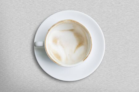 coffee hour: Empty coffee cup on metal background Stock Photo