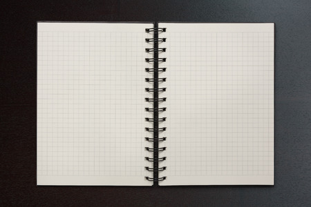 writing paper: checked notepad on wood background Stock Photo