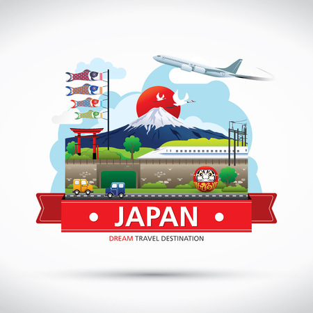 Iconos de Japón Diseño Destino del viaje Concept, Viajes colección de plantillas de diseño, elementos gráficos Información para viajar a Japón, Vector Foto de archivo - 44889421