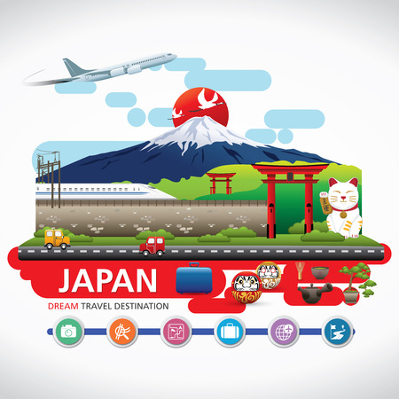 Japan Icons Design Travel Destination Concept, Travel design templates collection, Info graphic elements for traveling to Japan, Vector Фото со стока - 44889424