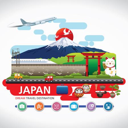 japon: Japon Icônes Design Voyage Destinations Concept, Voyage modèles de conception collection, éléments graphiques Information pour voyager au Japon, Vector