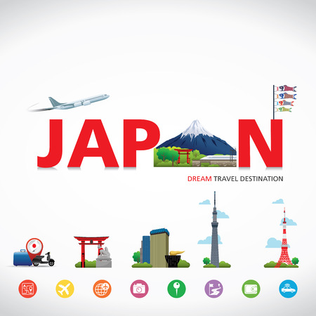 japan food: Japan Vector travel destinations icon set, Info graphic elements for traveling to Japan. Illustration