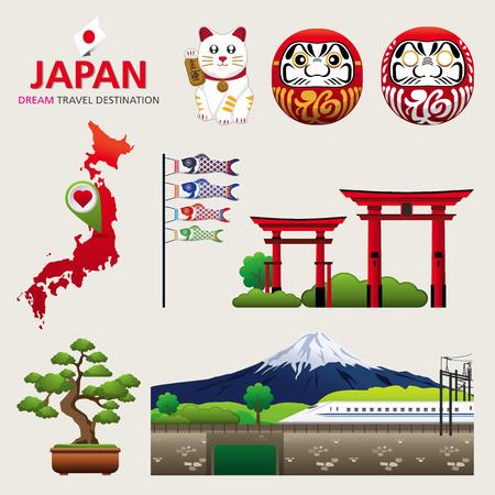 일본, 일본 인포 그래픽 요소 아이콘 기호 개념 여행, 벡터 디자인 여행을위한 인포 그래픽 요소의 벡터 일러스트 레이 션