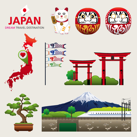 A vector illustration of Infographic elements for traveling to Japan, concept Travel to Japan  Infographic Element  icon  Symbol , Vector Design Stock fotó - 44890048