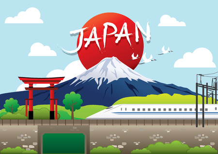fuji: Fuji, Japan Travel destination concept, Travel design templates collection, Info graphic elements for traveling to Japan. Illustration