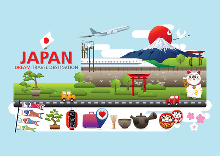 Japan Icons Design Travel Destination Concept, Travel design templates collection, Info graphic elements for traveling to Japan, Vector