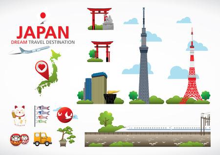 torre: Una ilustración vectorial de elementos de Infografía para viajar a Japón, el concepto de viaje a Japón Infografía Elemento icono símbolo, diseño vectorial